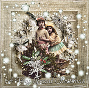 Wishes Mixed Media Posters - Vintage Christmas Poster by Mo T