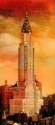 Building Posters - Vintage Chrysler Building Poster by Andrew Fare