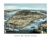 River View Mixed Media Metal Prints - Vintage City Of New York Metal Print by War Is Hell Store