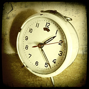 Sepia Metal Prints - Vintage clock Metal Print by Les Cunliffe