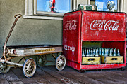Country Scene Framed Prints - Vintage Coca-Cola and Rocket Wagon Framed Print by Paul Ward