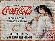 Advertisements Prints - Vintage Coke Sign Print by Jack Zulli
