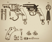 Mechanism Mixed Media Posters - Vintage Colt Revolver Drawing Poster by Nenad  Cerovic