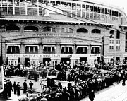 Chicago Black White Metal Prints - Vintage Comiskey Park - Historical Chicago White Sox Black White Picture Metal Print by Horsch Gallery