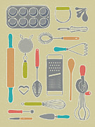 Frosting Mixed Media Posters - Vintage Cooking Utensils Poster by Mitch Frey