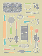 Frosting Mixed Media Posters - Vintage Cooking Utensils with Pastel Colors Poster by Mitch Frey