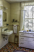 Linoleum Photo Posters - Vintage Cross Creek Bathroom Poster by Lynn Palmer