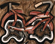 Cruiser Painting Posters - Vintage cruiser bicycle Poster by Tommervik
