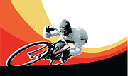 Sassan Filsoof Prints - Vintage cyclist with colored swoosh poster print Speed demon Print by Sassan Filsoof