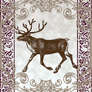 Wine Reflection Art Posters - Vintage Deer Artowrk Poster by Art World