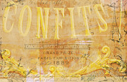 Textile Mixed Media - Vintage Dessert Sign Paris by Anahi DeCanio