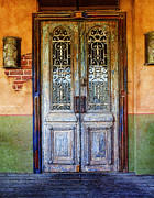 Entrance Door Posters - vintage door in Hico TX Poster by Elena Nosyreva