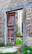 Brick Wall Prints - Vintage Doorway Print by Susan  Schmitz