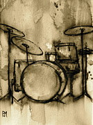 Sepia Drawings Prints - Vintage Drums Print by Pete Maier