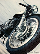 Motorcycle Paintings - Vintage Ducati by Guenevere Schwien