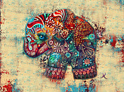 Elephant Art Framed Prints - Vintage Elephant Framed Print by Karin Taylor