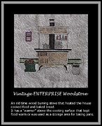 Enterprise Drawings Framed Prints - Vintage ENTERPRISE Woodstove Framed Print by Barbara Griffin
