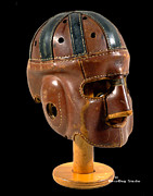 Football Mixed Media - Vintage Executioner Leather Football Helment by Spencer Hall