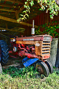 Farmall Red Posters - Vintage Farmall Tractor Poster by Paul Ward