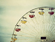 Amusement Ride Framed Prints - Vintage Ferris Wheel Framed Print by Kim Hojnacki