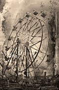 Ferris Wheels Prints - Vintage Ferris Wheel Print by Theresa Tahara