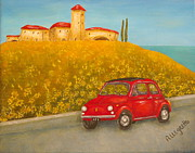 Sports Cars Paintings - Vintage Fiat 500 by Pamela Allegretto