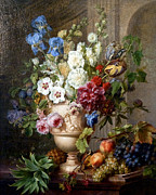 1781 Paintings - Vintage Flower And Fruit Bouquet c.1781 by Sheila Savage