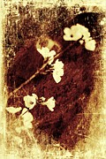 Stained Mixed Media Metal Prints - Vintage flower Metal Print by Jaroslaw Grudzinski
