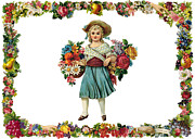 Baskets Digital Art Posters - Vintage Flowers Seller Poster by Munir Alawi