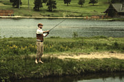 Fly Fishing Photo Posters - Vintage Fly Fishing Poster by Ron White