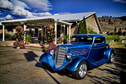 Wine Barrels Framed Prints - Vintage Ford Coupe at Oliver Twist Winery Framed Print by David Smith