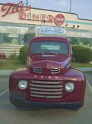 Ford Watercolor Framed Prints - Vintage Ford Truck outside the Tiltn Diner Framed Print by Edward Fielding