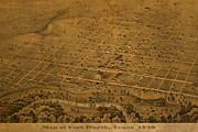 Worn In Metal Prints - Vintage Fort Worth Texas in 1876 City Map On Worn Canvas Metal Print by Design Turnpike