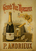 Champagne Glasses Photo Posters - Vintage French Poster Andrieux Wine Poster by Olivier Le Queinec