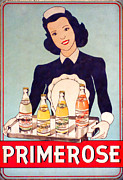 Advertisement Prints - Vintage French Tin Sign Primerose Print by Olivier Le Queinec