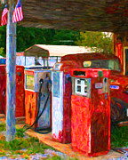 Pumps Digital Art Prints - Vintage Gas Station v1 Print by Wingsdomain Art and Photography