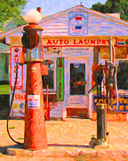 Pumps Digital Art Prints - Vintage Gas Station v3 Print by Wingsdomain Art and Photography