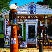 Pumps Prints - Vintage Gas Station v3a - square Print by Wingsdomain Art and Photography