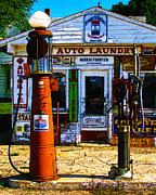 Nostalgic Sign Prints - Vintage Gas Station v3a Print by Wingsdomain Art and Photography