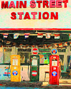 Pumps Digital Art Prints - Vintage Gas Station v4 Print by Wingsdomain Art and Photography