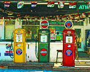 Pumps Prints - Vintage Gas Station v4a Print by Wingsdomain Art and Photography