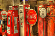 Bob Christopher Travel Photographer Posters - Vintage Gasoline Pumps With Coca Cola Sign Poster by Bob Christopher