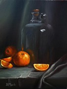 Glass Table Reflection Painting Prints - Vintage Glass Jug and  Oranges Print by Viktoria K Majestic