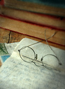 Love Letter Posters - Vintage Glasses Letter and Books Poster by Jill Battaglia