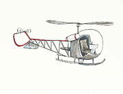 Helicopters Paintings - Vintage Gray Helicopter by Annie Laurie