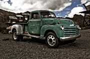Car Posters Posters - Vintage Green Chevrolet Truck Poster by Sanely Great