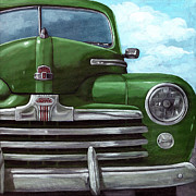 Linda Apple Painting Metal Prints - Vintage Green Ford Metal Print by Linda Apple