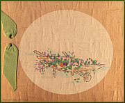 Wheel Drawings - Vintage Greeting.  A garders wheel barrel of fresh flower sprays by Pierpont Bay Archives