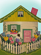 Easter Flowers Drawings Posters - Vintage Greeting.  A little house on the green with white picket fense  Poster by Pierpont Bay Archives