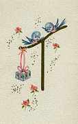 Archives Digital Art - Vintage Greeting. Baby Bluebirds bring gift for new infant by Pierpont Bay Archives